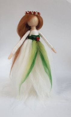 Bringing a little tradition to the festive season, this elegant Christmas angel wears a snow white gown of soft Merino wool tied at her waist in contrasting gre Felt Christmas Decorations, Christmas Figurines, Christmas Angels, Christmas Time, Wool Dolls, Felt Dolls, Handmade Shop, Handmade Gifts, Felt Angel