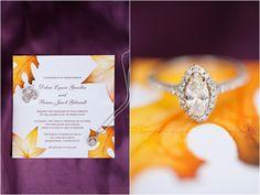 fall-inspired wedding invitation, vintage marquis diamond engagement ring, purple and orange New England fall wedding, Deborah Zoe Photography