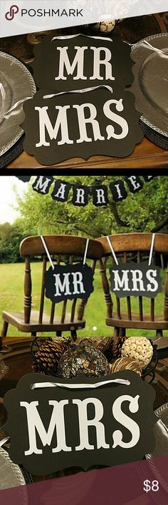 Mr & Mrs Wedding Monogram Signs Mr & Mrs Wedding Monogram Signs. Great for Wedding Party Decorations. White ribbon included. Fast Shipping. Other
