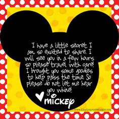 "Super cute ""note from Mickey Mouse"" to attach to snacks for kids' first Disney road trip!"
