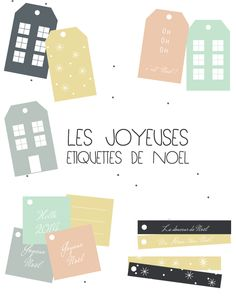 Free printable Christmas gift tags from Vie De Mettes: etiquettes noel. Available in 8 different colours.