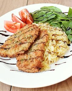 Italian Crusted Pork Recipe with Creamy Parmesan Orzo and Smithfield All Natural Pork