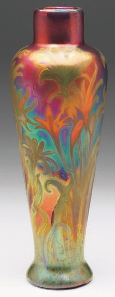 """Weller Sicard vase, tapered shape, in a colorful metallic glaze with etched floral designs, signed, 3.5""""w x 9.5""""h"""