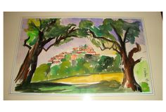 """Watercolor of a hilltop village. Displayed with paper matte in wood frame, signed """"Nahene, '68"""" lower right."""