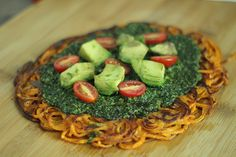 Guest Recipe by Alissandra Maffucci of Inspiralized–Sweet Potato Crust Pesto Pizza with Tomatoes and Avocado