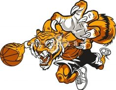 panther basketball Mascot Clip Art   Tiger Playing Basketball In Color