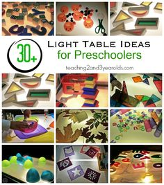 Ultimate Collection of Light Table ActivitiesLight Table Activities for Preschoolers - This is a great collection for parents and teachers! Teaching 2 and 3 Year Olds 80 OF THE BEST ACTIVITIES FO. Table Activities For Toddlers, Autumn Activities For Kids, Color Activities, Sensory Activities, Sensory Diet, Sensory Play, Sensory Lights, Light Board, Sensory Table