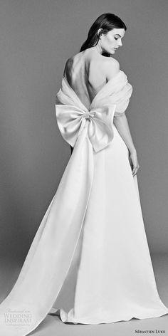 sebastien luke spring 2018 bridal off shoulder gathered tulle wrap a line wedding dress (18b18) bv modern romantic bow back -- Sébastien Luke Spring 2018 Wedding Dresses
