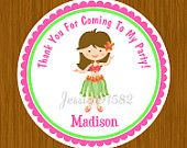 Hawaiian Luau Party Favor Stickers or Cardstock Tags- Name and Personal Message