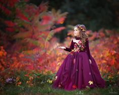 Couture Autumn Wine Floral Chiffon Gown / http://www.deerpearlflowers.com/flower-girl-dresses-shops/4/
