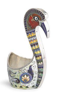 A Russian Gilded Silver and Enamel Bird-Form Kovsh, Orest Kurlyukov, Moscow, 1910 (14 cm)