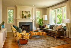 Craftsman cottage remodel in Portland offers warmth and timeless beauty Danish Interior Design, Interior Design Magazine, Commercial Interior Design, Commercial Interiors, Danish Design, Living Room Plants, Room With Plants, Home Living Room, Living Spaces