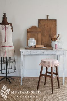 Ticking stool cover - use the old stools mom and dad have in the garage.