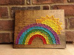String Art Rainbow Sunshine Here comes the sun Wood by millyandoak