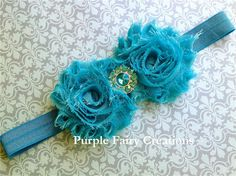 Aqua Blue Double Shabby Chic Flower by PurpleFairyCreations, $6.00
