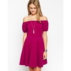 ASOS Skater Dress with Off Shoulder and Gypsy Detail ($14) ❤ liked on Polyvore featuring dresses, berry, off the shoulder dress, off shoulder dress, asos, purple dress and purple skater dress