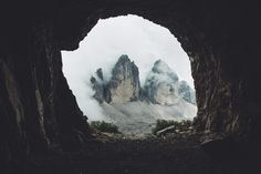 Tre Cime in the a Cave. by Johannes Hulsch Photography