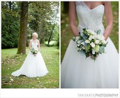 One shoulder wedding dress, Beautiful wedding dress, Unique Wedding Dress, Green Bouquet, Green Flowers