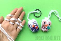 Finger Knitting Owl Ornaments