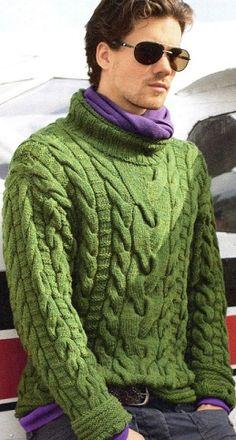 вязаный мужской пуловер с косами