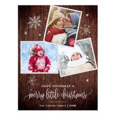 Rustic Snowflake | 3 Photo Christmas Postcard - merry christmas diy xmas present gift idea family holidays