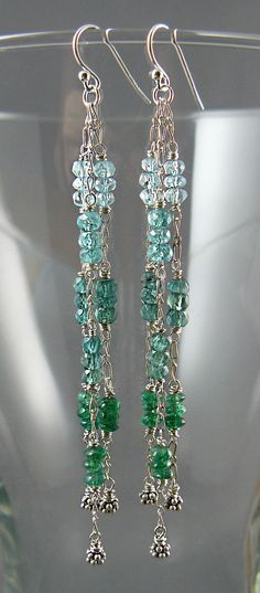 Waterfall Earrings with AquaBlue and Green Gems by goodmedicinegemstone