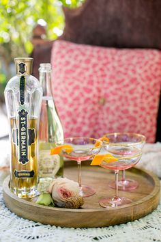 Simple and delicious: St. Germain and champagne with a twist of orange zest.