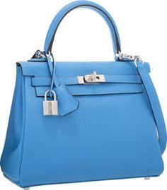 Hermes 25cm Blue Paradis Swift Leather Retourne Kelly Bag withPalladium  Hardware Kelly Bag, Hermes Kelly 830ab7e339