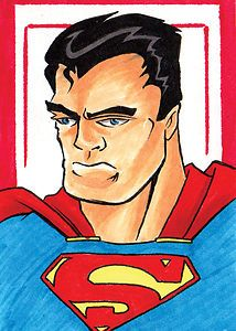 Superman Original Hand Drawn Art Sketch Card by Rodney Fyke
