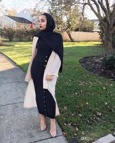 2019 Women Empire Waist Pencil Sheath Solid Color Muslim Maxi Skirt With Buttons. 2019 Women Empire Waist Pencil Sheath Solid Color Muslim Maxi Skirt With Buttons Many Colors Option Muslim Women Fashion, Modern Hijab Fashion, Islamic Fashion, Modest Fashion, Fashion Outfits, Modest Wear, Modest Dresses, Modest Outfits Muslim, White Maxi Dresses