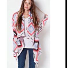 GORGEOUS COLORFUL AZTEC CARDIGAN! Open Beautiful Aztec Tribal Print Cardigan! Sweaters Cardigans