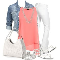 """Pink and White"" by chells-style on Polyvore"