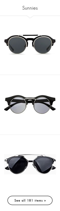 """""""Sunnies"""" by baludna ❤ liked on Polyvore featuring accessories, eyewear, sunglasses, glasses, black, round sunnies, round eyewear, rounded sunglasses, summer sunglasses and round black glasses"""