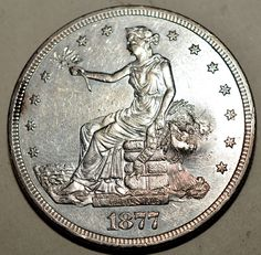 1877-S Trade Dollar-Silver MS, details-CHOPMARK-Lustre-FREE USA Shipping