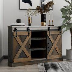 Loon Peak Pullman TV Stand for TVs up to Colour: Barnwood Diy Rustic Decor, Rustic Design, Wood Corner Tv Stand, Corner Shelves, Open Shelves, Home Wall Decor, Diy Home Decor, Interior Styling, Interior Design