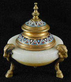 Antique Bronze Champleve Onyx Inkwell with Figural Ram's Head & Hoof Suports, late 19th c.  eBay