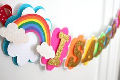 Rainbow Birthday Banner - Rainbow Birthday Decorations Get more photo about subject related with by looking at photos gallery at the bottom of this pa. Rainbow Birthday Decorations, Rainbow First Birthday, Rainbow Theme, Happy Birthday Banners, Unicorn Birthday Parties, Birthday Party Themes, Cake Rainbow, Farm Birthday, Rainbow Nails
