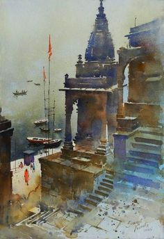 Traditional Indian Art Paintings on Canvas 30 Traditional Indian Art Paintings on Canvas - Cartoon Traditional Indian Art Paintings on Canvas - Cartoon District Watercolor Architecture, Watercolor Landscape Paintings, Watercolor Paintings, Watercolors, Temple Architecture, Landscape Sketch, Landscape Drawings, Landscape Art, Indian Art Paintings