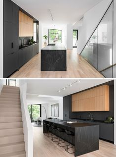 Kitchen Ideas - Inside this modern house, the matte black kitchen cabinets and island draw the attention in the mostly white interior. Black Kitchen Island, Black Kitchen Cabinets, Black Kitchens, Toronto, Layout Design, Black Window Frames, Interior Design Games, Black Accent Walls, White Dining Table