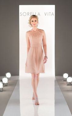 8647 Chiffon Bridesmaid Dress with Illusion Neckline by Sorella Vita