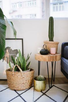 Baskets, DIY side table and copper