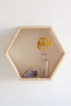 Wall decor idea dining room. Lots of shaped shelves with mini arrangements of dried flowers. Repurpose wedding bouquet?