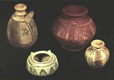 Wheel-turned painted pottery from Jemdet Nasr that indicate Iranian connections. Polychrome geometric designs in black and plum are characteristic of the period. The shapes often derive from metalware. Oxford: Asmholean Museum.