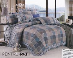 Lenjerie de pat bumbac Casa New Fashion pentru o persoana cu patratele maro si albastre