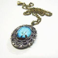 Sapphire Wind   Small Wearable Art Locket by saruscrafts on Etsy, $35.00