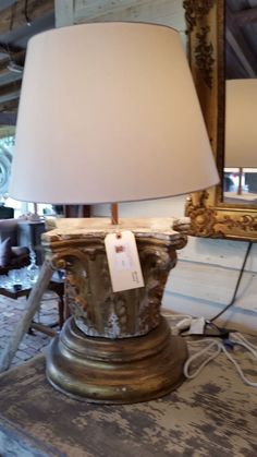 Final Corinthian Capital Salvage - Restored and made into a lamp with added new silk shade.  We had a pair made and they sold the 1st day at the S15 Marburger Farms Round Top TX antique fair.