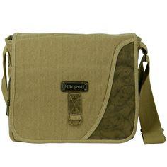 Canvas Messenger Bag with Holder- Khaki