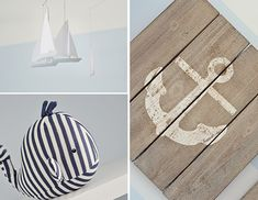 Nautical Nursery Accents - Love the rustic wood-plank nautical wall art