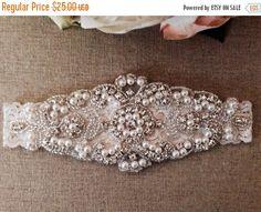 ON SALE Wedding Garter Bridal Garter Pearl by BellaFleurBridal