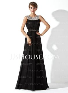 Evening Dresses - $156.49 - A-Line/Princess Scoop Neck Floor-Length Chiffon Tulle Evening Dress With Ruffle Beading (017020923) http://jjshouse.com/A-Line-Princess-Scoop-Neck-Floor-Length-Chiffon-Tulle-Evening-Dress-With-Ruffle-Beading-017020923-g20923